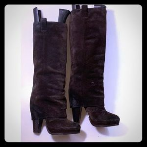 Ash Knee High Heeled Boots Suede Sz 39 8.5 Brown